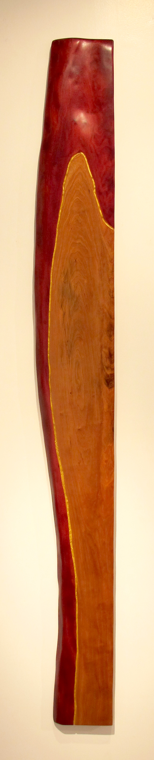"A View  Jeffrey Brosk JB148 Cherry Wood, Red Stain, Gold Leaf 75"" x 9"" x 1.5"""