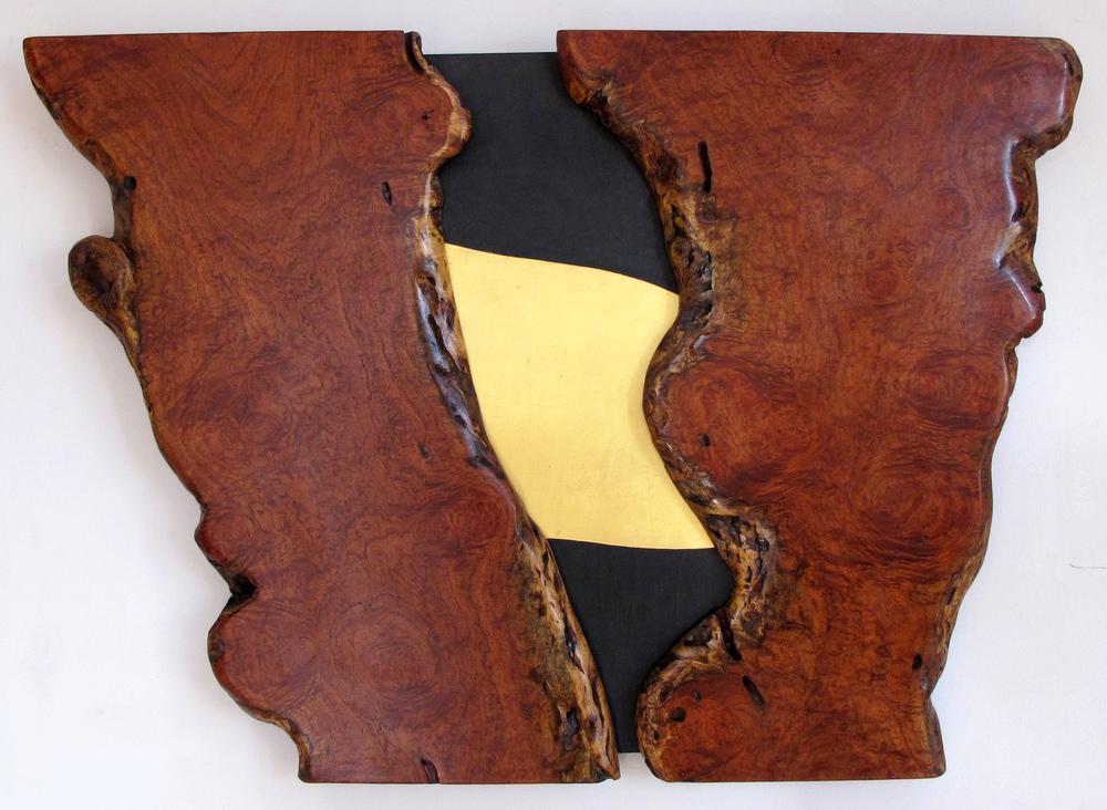 """Natural Turn  Jeffrey Brosk JB146 Mesquite, Black Stain, Gold Leaf 24"""" x 34"""" x 2"""""""