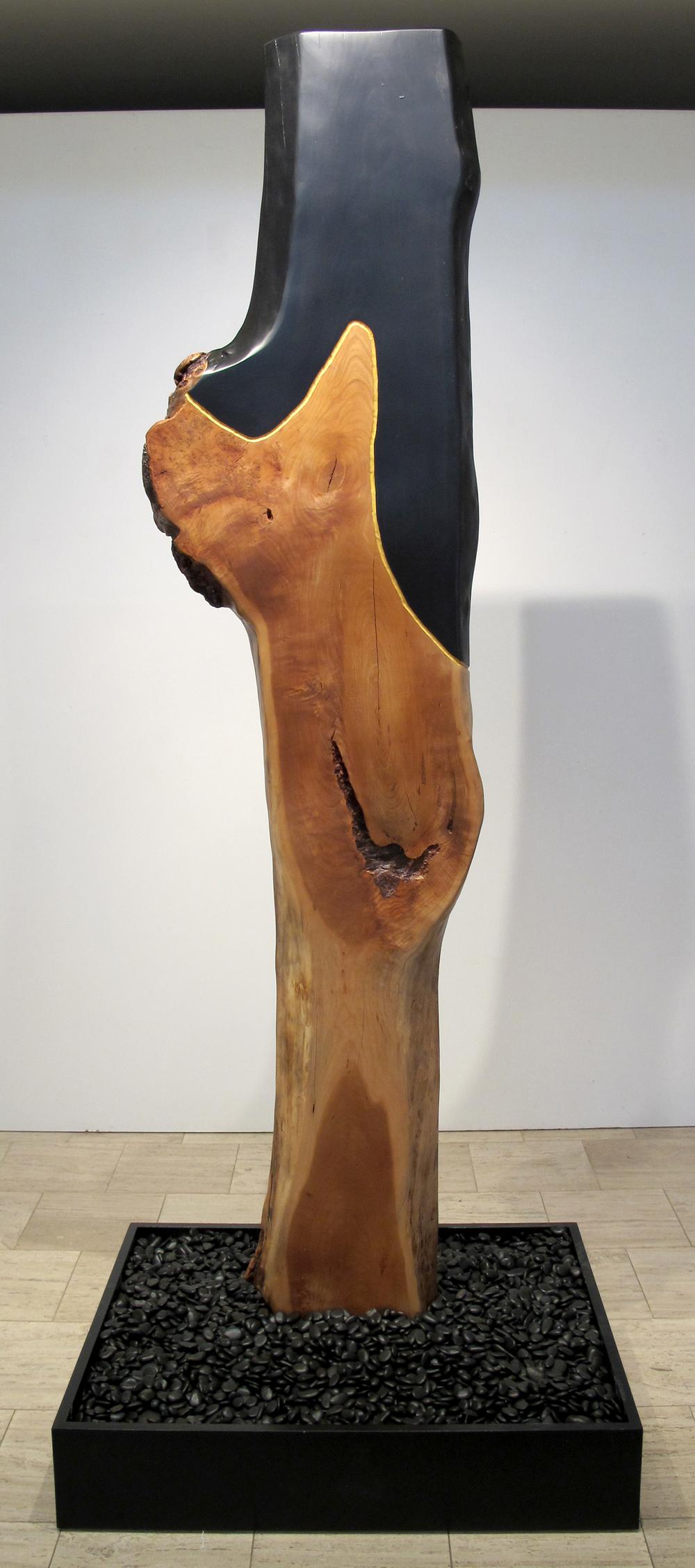 "Lands Language  Jeffrey Brosk JB151 Cherry Wood, Black Stain, Gold Leaf 90"" x 12"" x 3"""