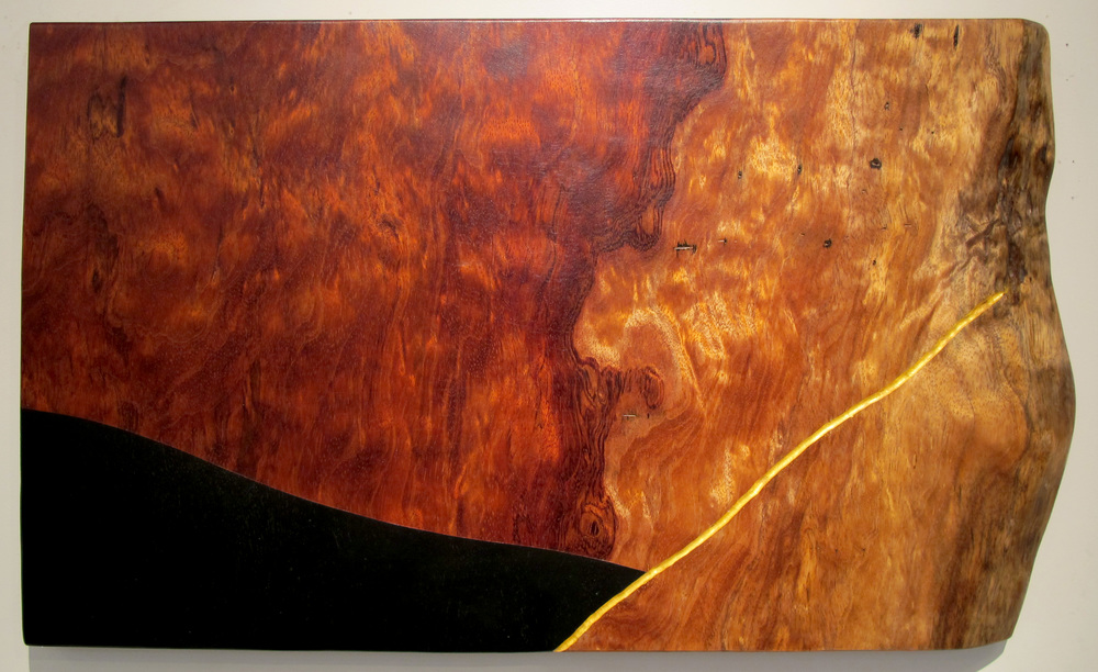 "Arroyo Opera  Jeffrey Brosk JB152 Quilted Bubinga, Black Stain, Gold Leaf 15"" x 26"" x 1.5"""