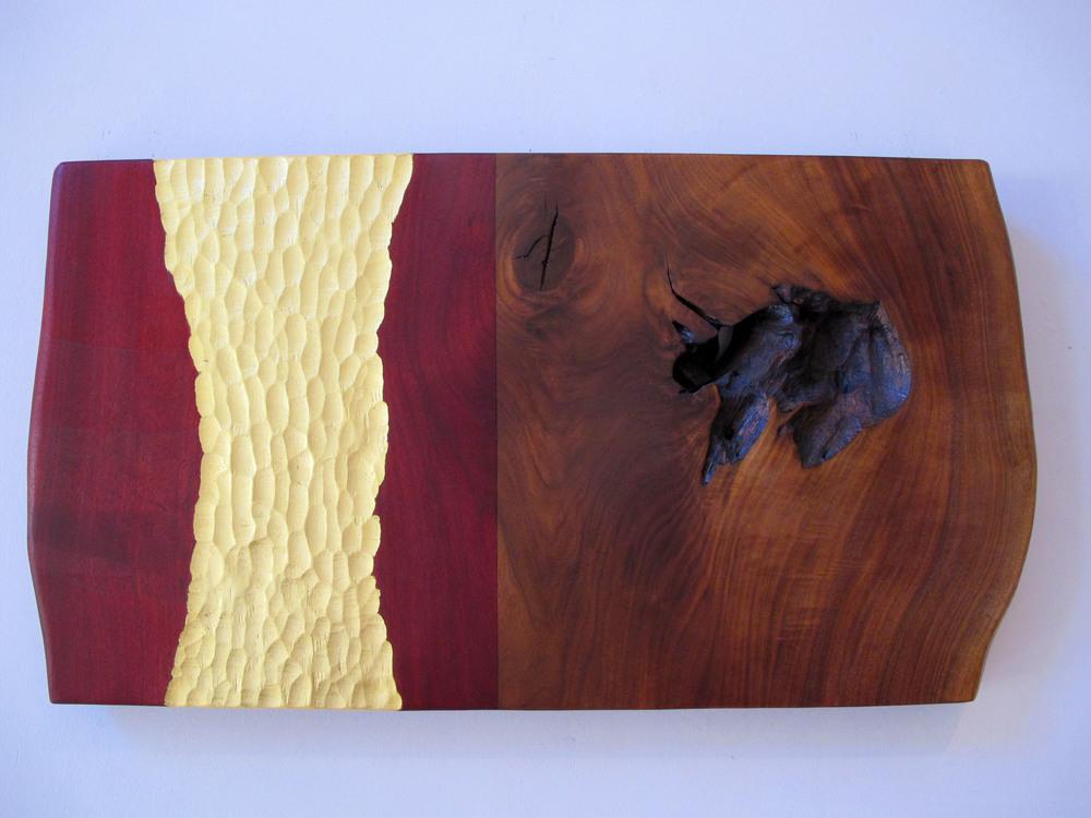 """Impression  Jeffrey Brosk JB154 Walnut, Red Stain, Gold Leaf 18"""" x 36"""" x 1.5"""""""