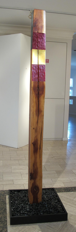 """Spirit Pole II  Jeffrey Brosk JB165 Cherry Wood, Red Stain, Gold Leaf 89"""" x 6"""" x 6"""""""