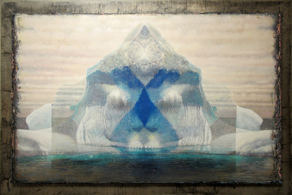"Floating Mysterious Traveler  Eric Peters ES219 Oil and Watercolor on Paper Hybrid 37"" x 56.5"""