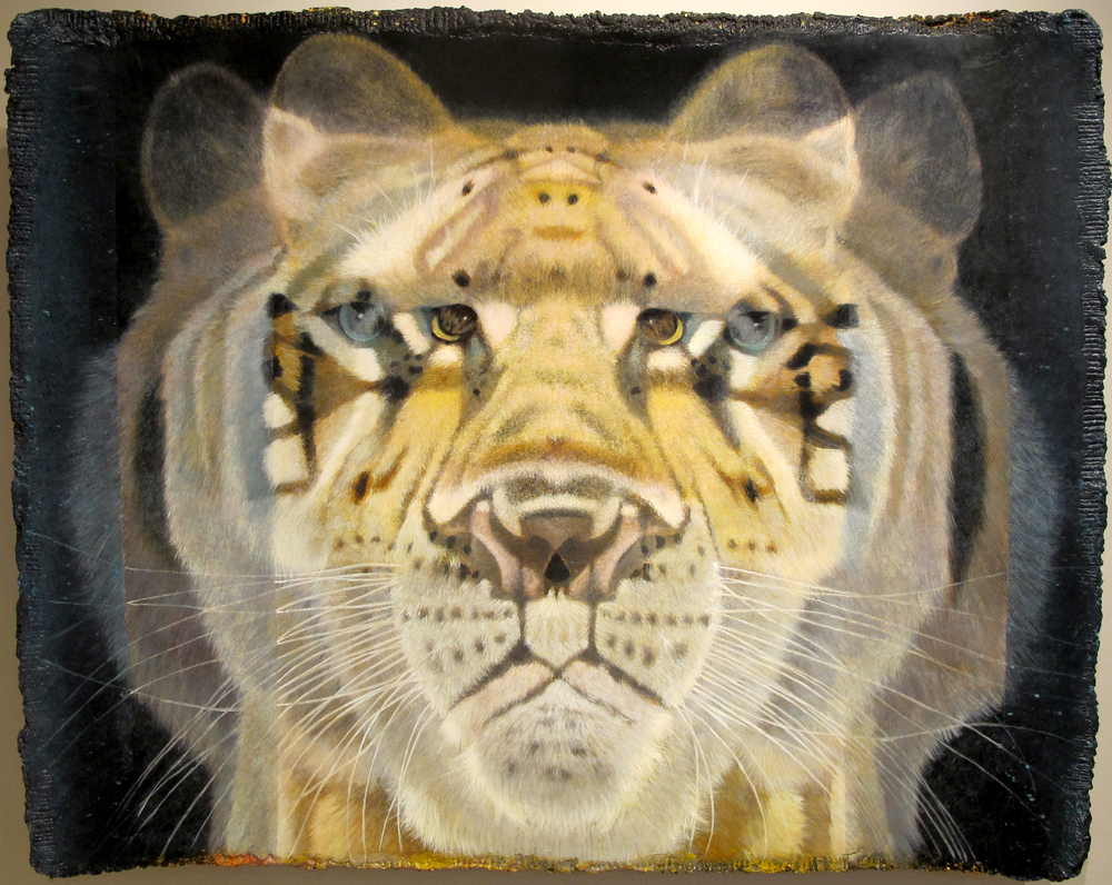 "Q-bistic Tiger No. 3  Eric Peters ES220 Oil and Watercolor on Paper Hybrid 47"" x 56"""
