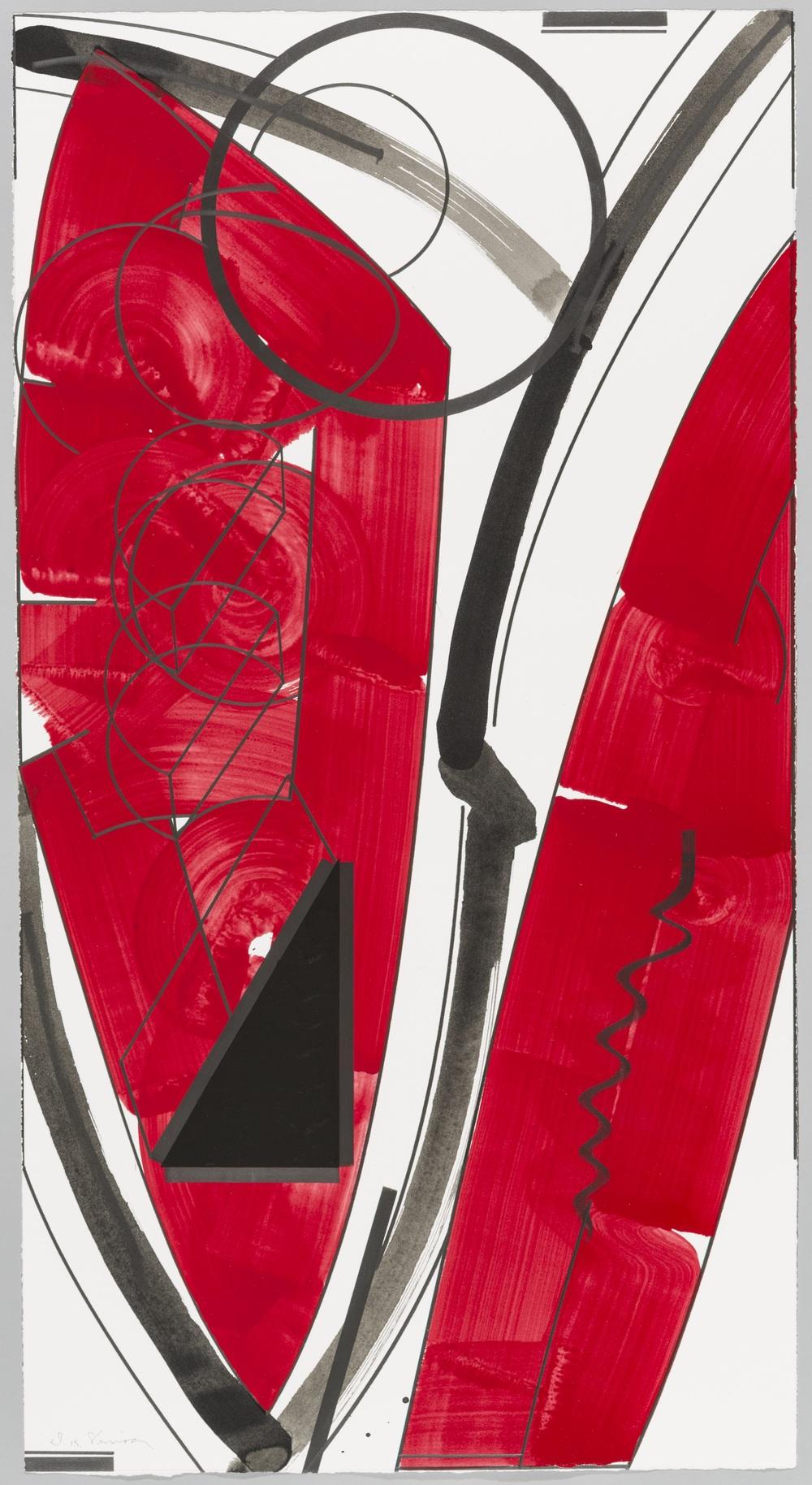 """Fullmoon (Daylight)  Doug Semivan SE282 Acrylic on Paper 47"""" x 25"""""""
