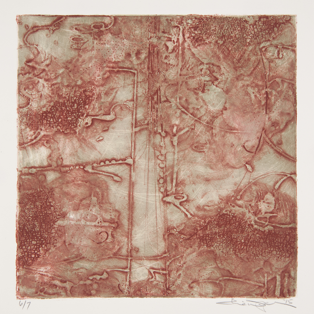 "Lost Map 7  Elise Wagner EW 108 Encaustic Collagraph Monoprint on Paper 10"" x 10"""