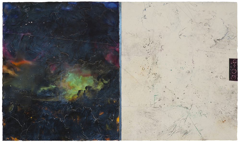 "Pluto Atlas II  Elise Wagner EW 105 Encaustic and Oil on Panel 30"" x 51"""