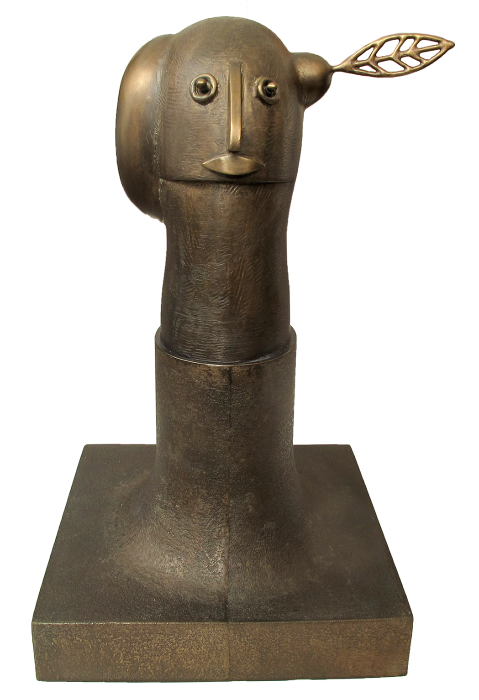 """Sprout  Stephen Daly SD144 Antique Brown Patina on Cast Bronze 17"""" x 11"""" x 10"""""""