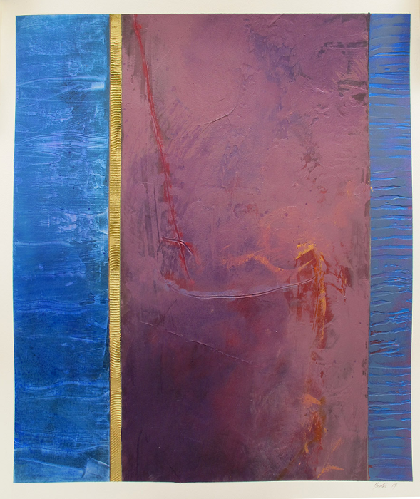 "Untitled (blue, gold, purple)    Robert Rector RE4694 Acrylic on Paper 27"" x 22"""