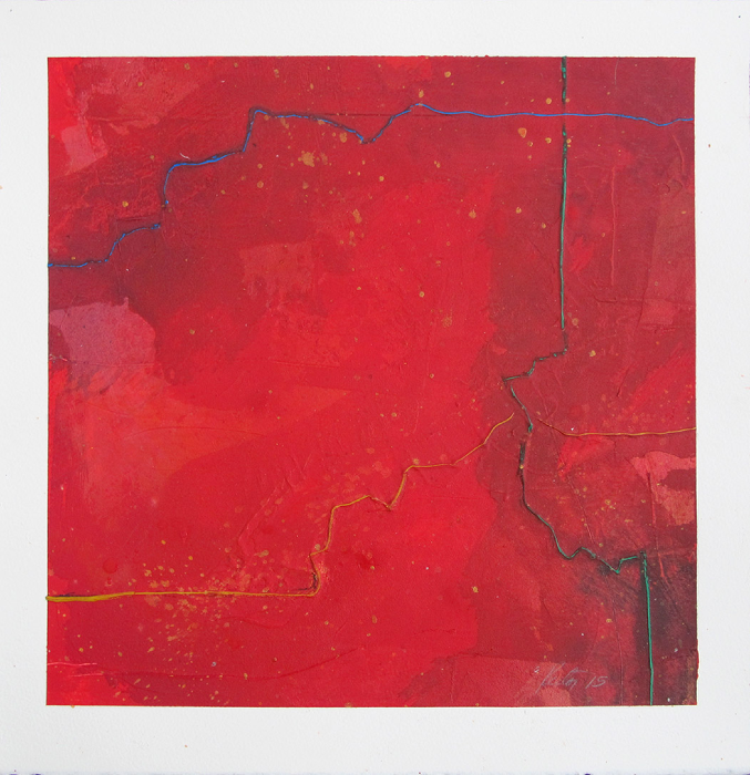 "Untitled (red)      Robert Rector RE4708 Acrylic on Paper 13"" x 13"""