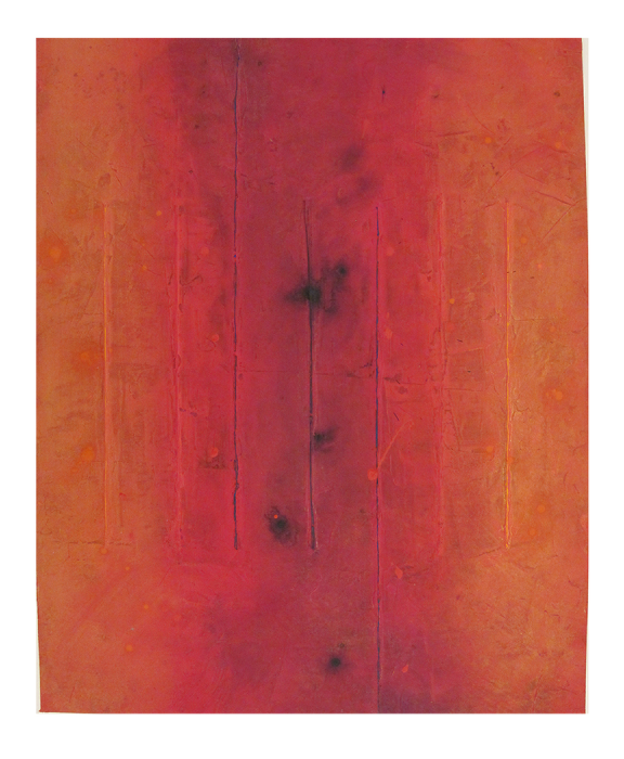 "Untitled (Red)      Robert Rector RE4731 Acrylic on Paper 30.75"" x 25.5"""