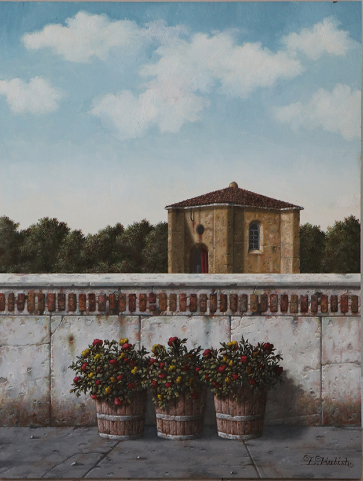 "Flowers in Tuscany  Lionel Kalish KA522 Oil on Wood 24"" x 18"""