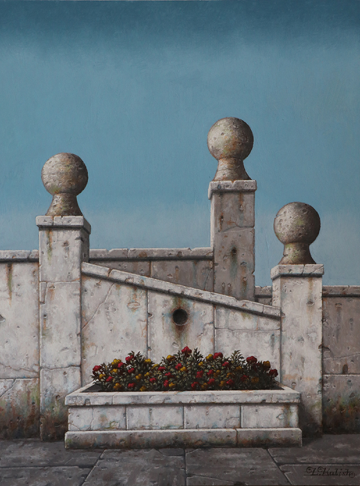 "Spheres and Flowers  Lionel Kalish KA524 Oil on Wood 24"" x 18"""