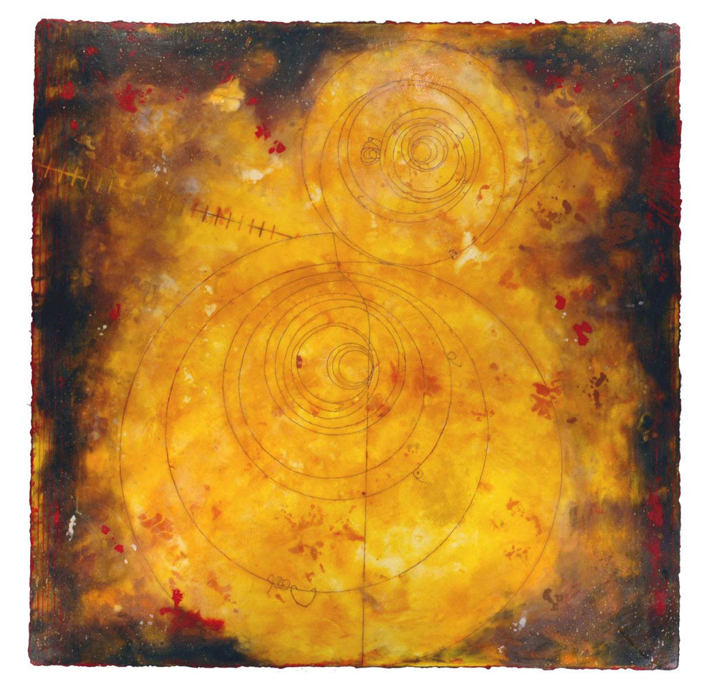 "Counter Collision II  Elise Wagner EW 112 Encaustic and Oil on Panel 48"" x 48"""