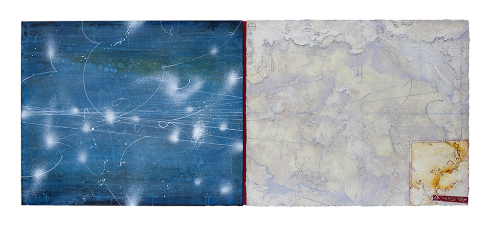 "Opposing Cartography 7  Elise Wagner EW 113 Encaustic and Oil on Panel 24"" x 56"""