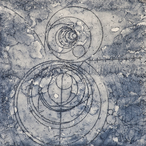 "Counter Collision Study 1  Elise Wagner EW 134 Encaustic Collagraph Monoprint on Kozo Paper  24"" x 24"""