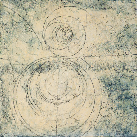 "Counter Collision Study 3  Elise Wagner EW 136 Encaustic Collagraph Monoprint on Kozo Paper 24"" x 24"""