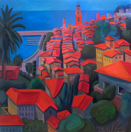 "By the Sea  Joan Steinman ST772 Acrylic on Canvas 40"" x 40"""
