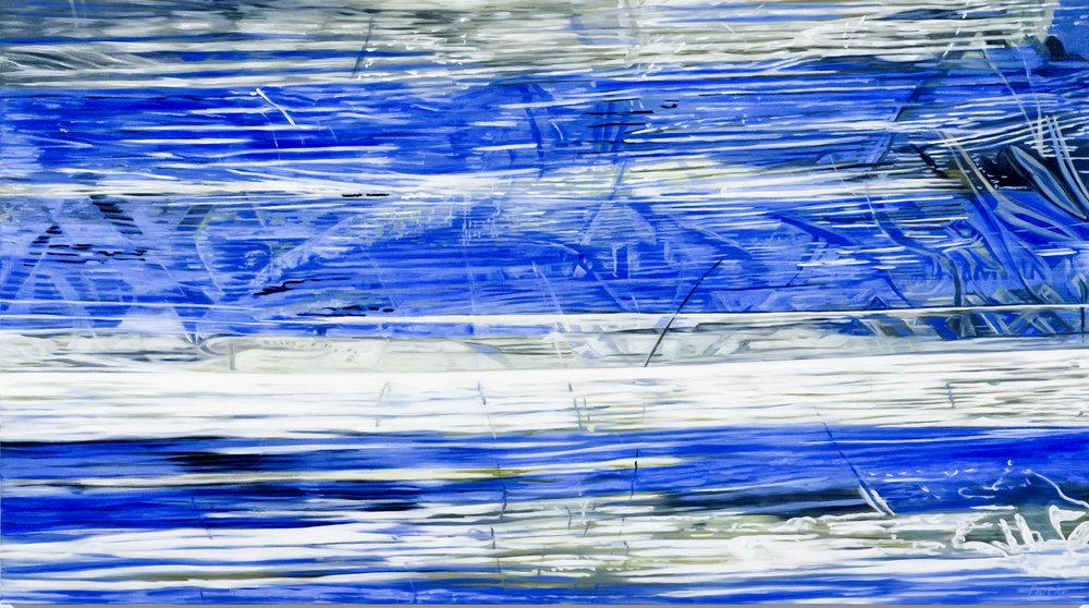 """Wrapped Blue  Leslie Parke LP251 Oil on Canvas 40"""" x 72"""""""