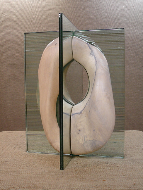 "Quadrants: Intimacy #3  Stephen Adams SP129 Laminated Glass, Mirror, Maple 19"" x 15"" x 13.5"""