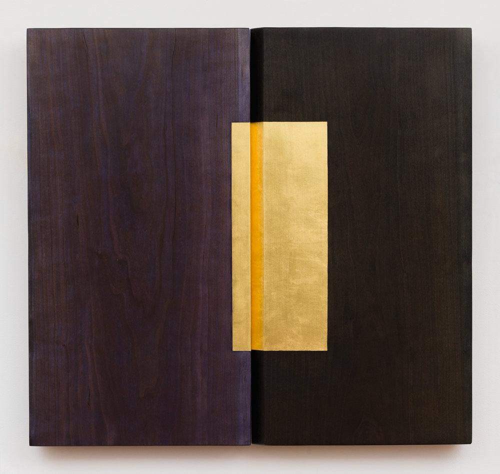 """Shadow Valley  Jeffrey Brosk JB183 Cherry, Stain, Gold Leaf 34"""" x 32"""" x 3"""""""