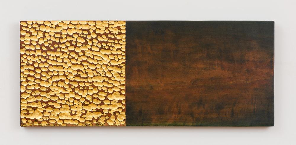 """Shadow River  Jeffrey Brosk JB180 Cherry, Stain, Gold Leaf 14"""" x 34"""" x 1"""""""
