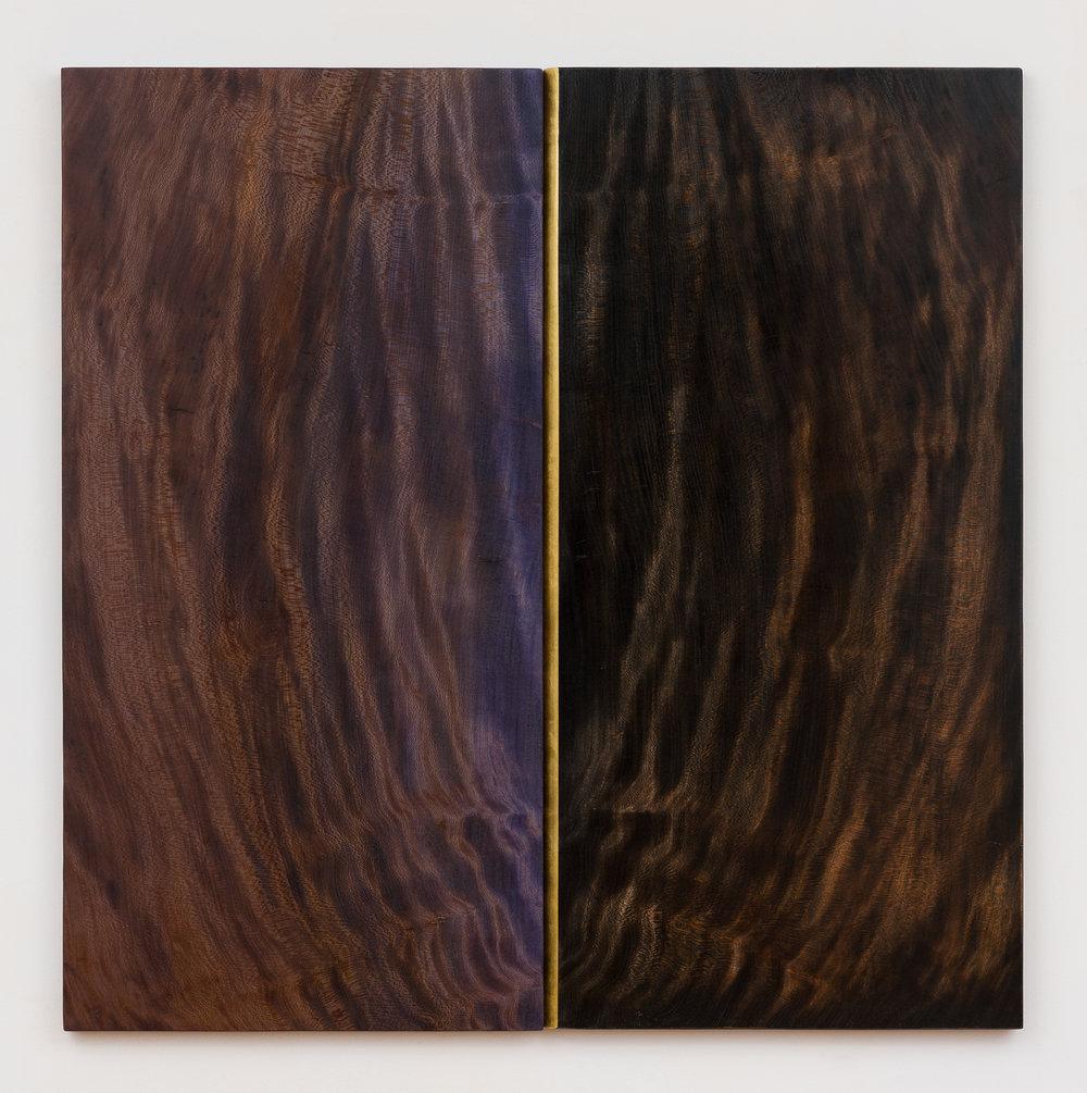 "Spirit Dream  Jeffrey Brosk JB179 Wood, Stain, Gold Leaf 42"" x 42"" x 1"""