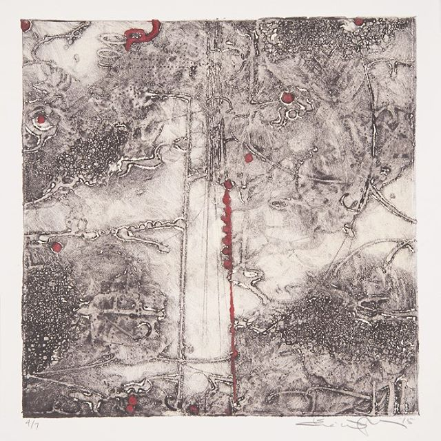 "Lost Map 10, Elise Wagner, 2016, Encaustic Collagraph Monoprint on Paper, 10"" x 10"""