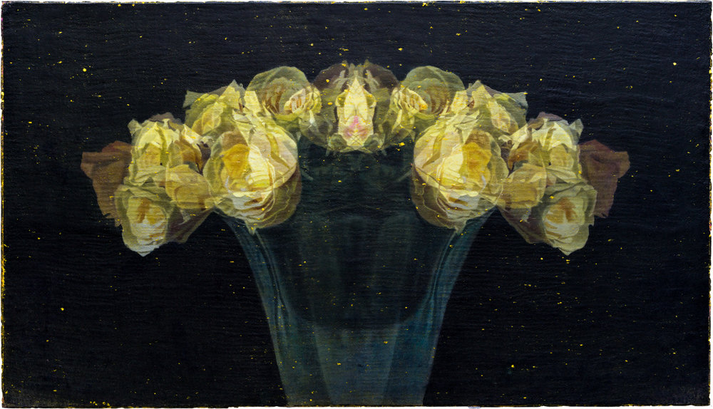 "Yellow Roses  Eric Peters ES236 Mixed Media on Paper Hybrid 38"" x 66"""