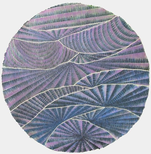 "Untitled, Davey Eldridge, 2010, Watercolor on Paper, 36"" Diameter"