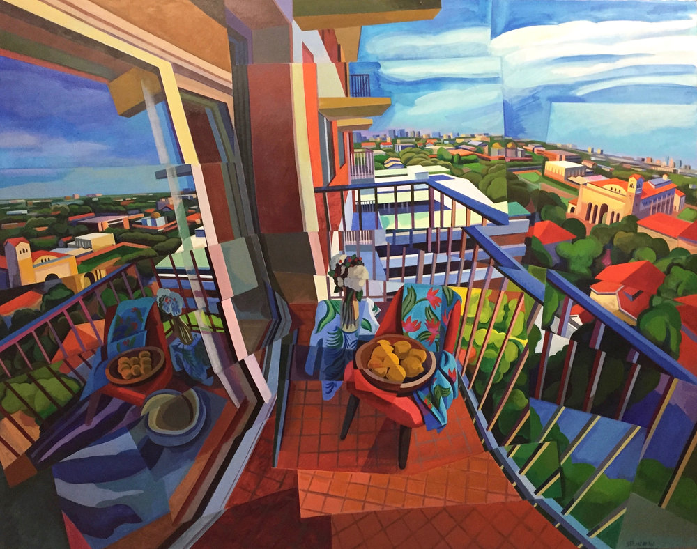 "Balcony II  Joan Steinman ST Acrylic on Canvas 48"" x 60"""