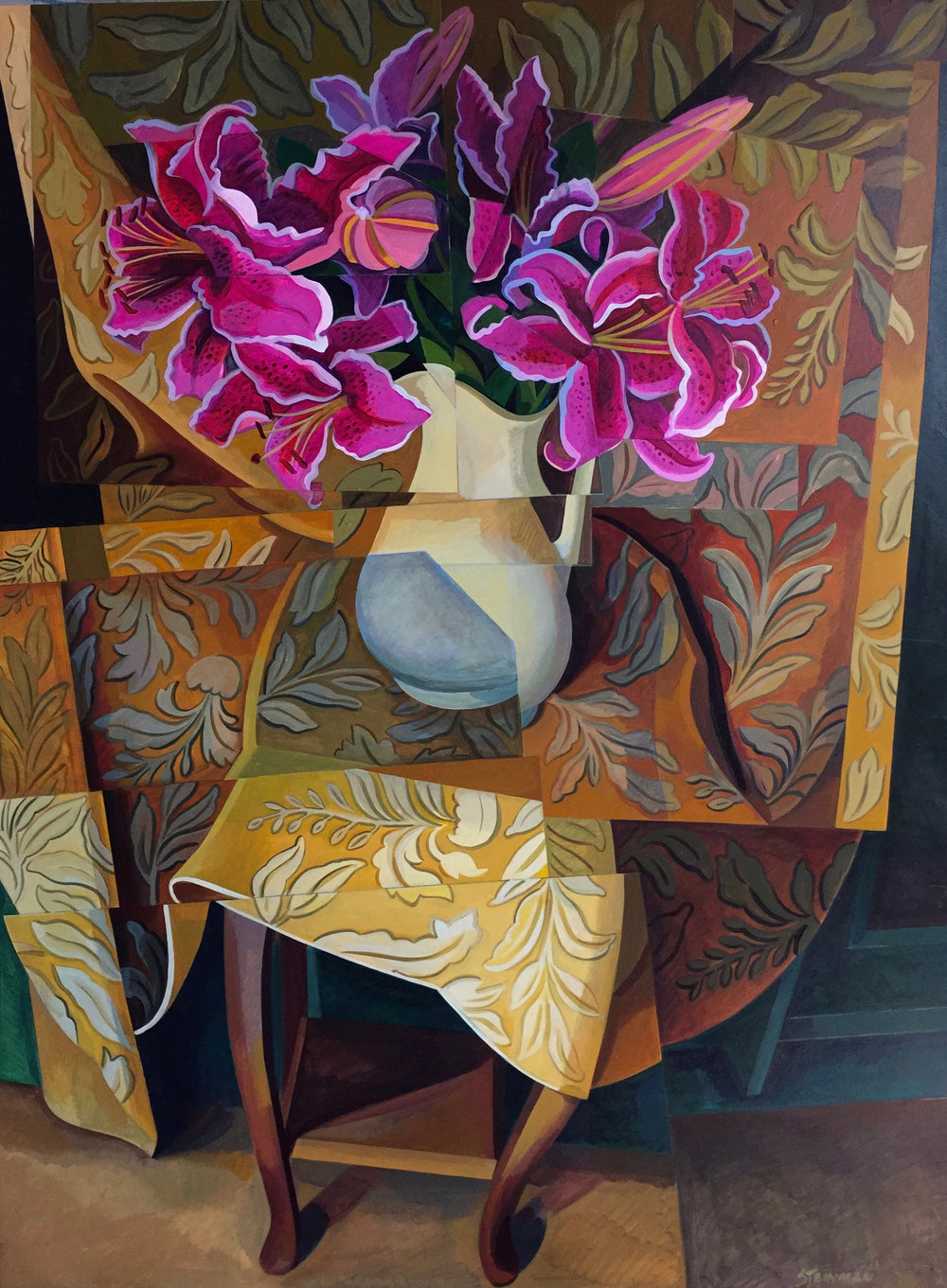 "Valentine Flowers II  Joan Steinman ST Acrylic on Canvas 48"" x 36"""
