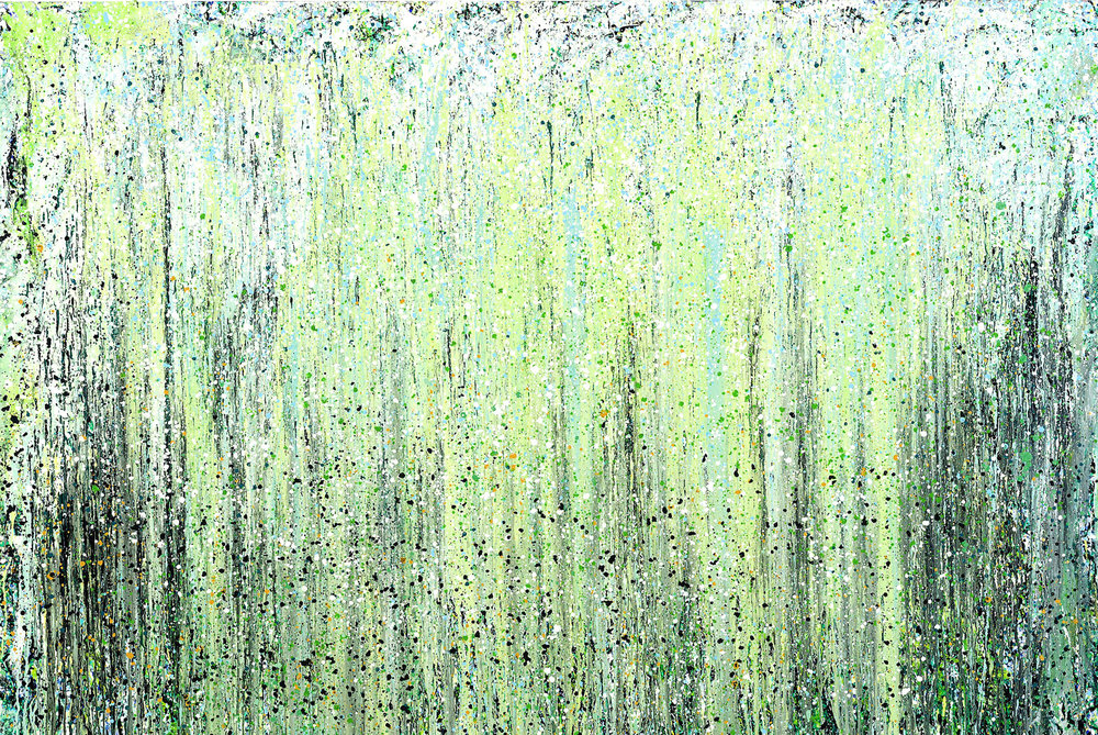 "New Day  Leslie Parke LP Oil and Metallic Paint on Canvas 66"" x 99"""