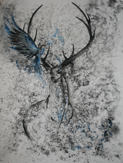 "The Mockingbird and the Stag  salt scrub and watercolor on cold press paper  12"" x 16""   Commissioned in March 2015"