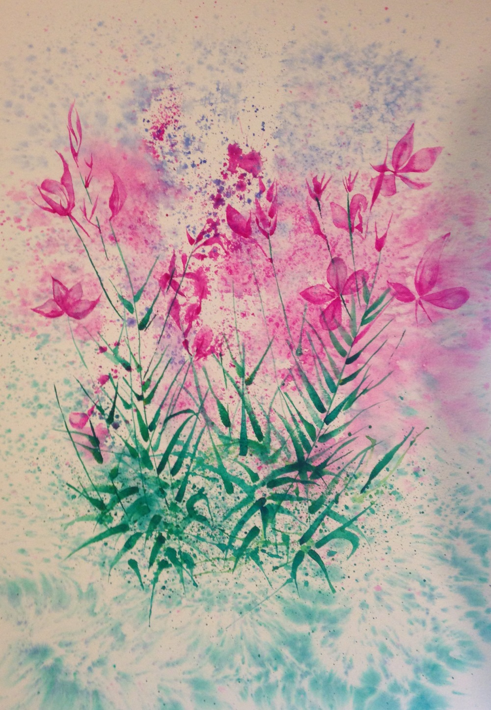 """Pretty Pink Flowers  salt scrubbed water color on cold press paper  14"""" x 20""""  $750"""