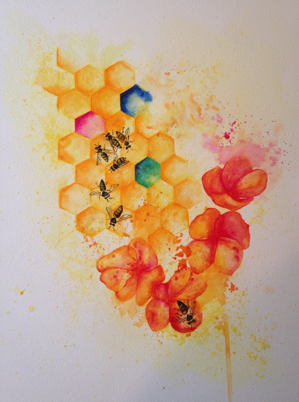 """Serving Their Colony  salt scrubbed water color on cold press paper  12"""" x 16""""  $500"""