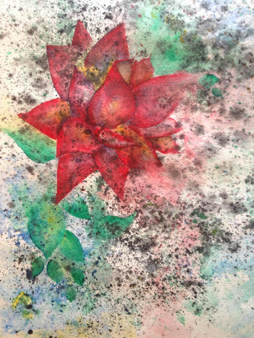 "Del Curto Rose  salt scrubbed water color on cold press paper  12"" x 16""  $500"