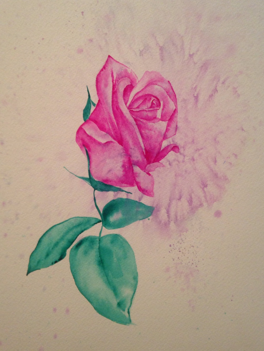 """The Rosebud of Valley Oak  salt scrubbed water color on cold press paper  8"""" x 10""""  $275"""