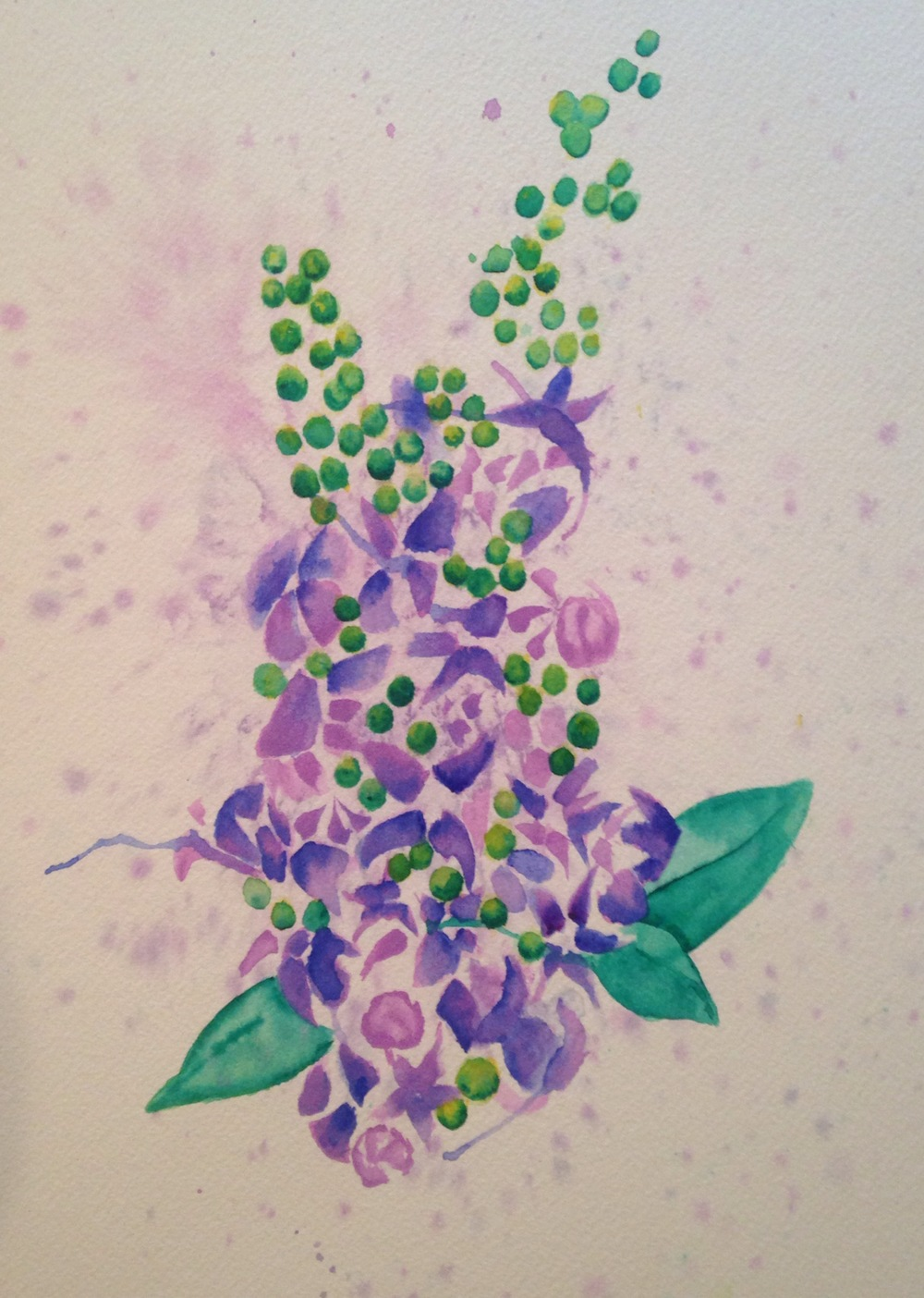 """Burning Oak's Flowering Tree  salt scrubbed water color on cold press paper  8"""" x 10""""  $275"""