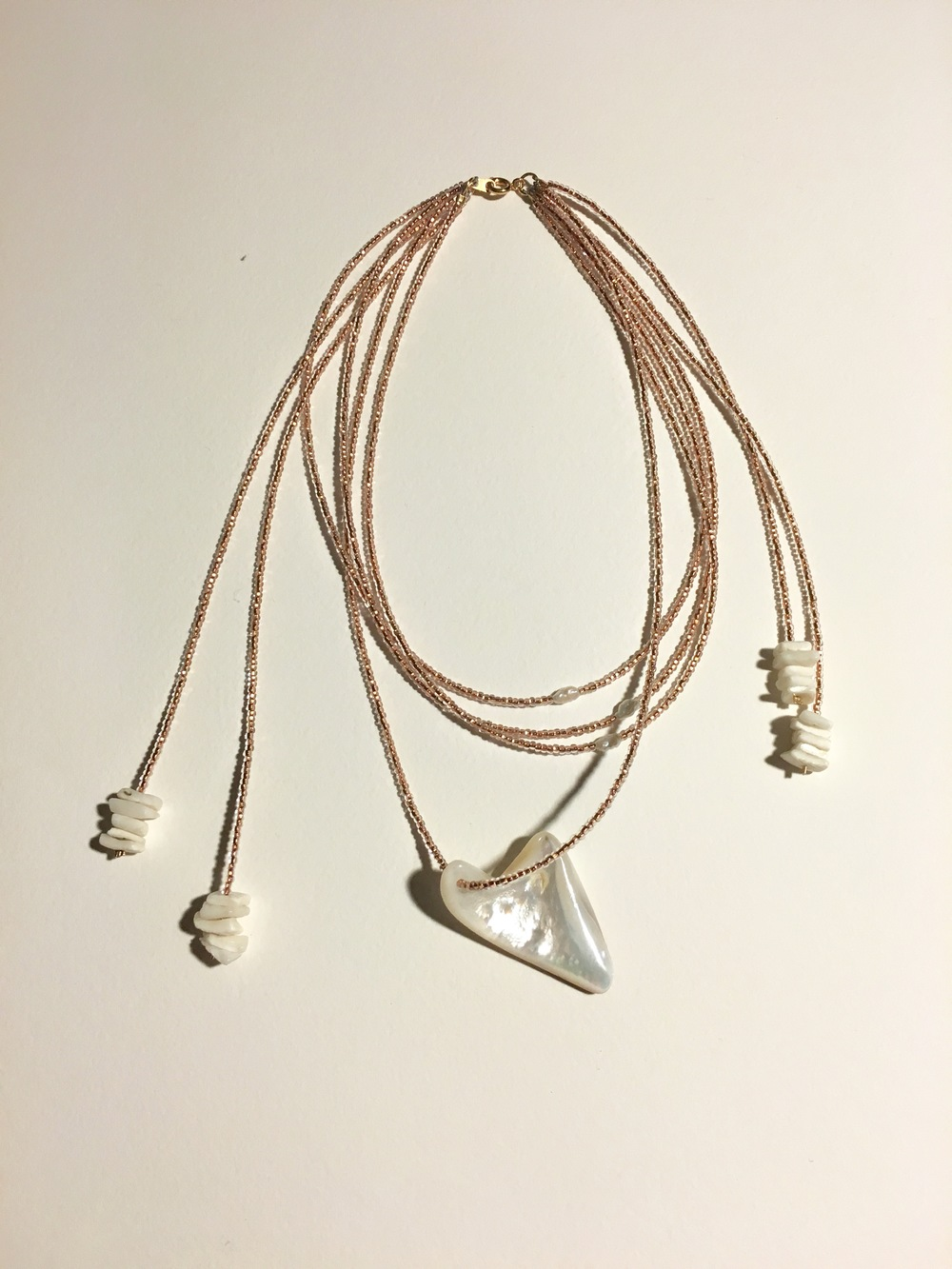 "A Traveler's Treasure  14"" Collar Necklace  Freshwater Pearl, Mother of Pearl (Nacre), Shell  $250"