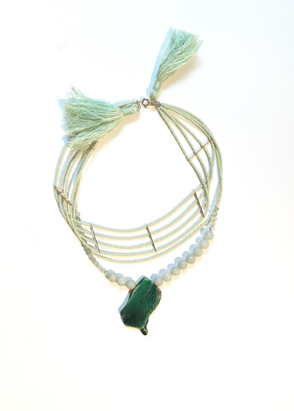 """The Mayan Connection - SOLD  14"""" Collar Necklace  Jade, Prehnite, Feldspar  $275"""