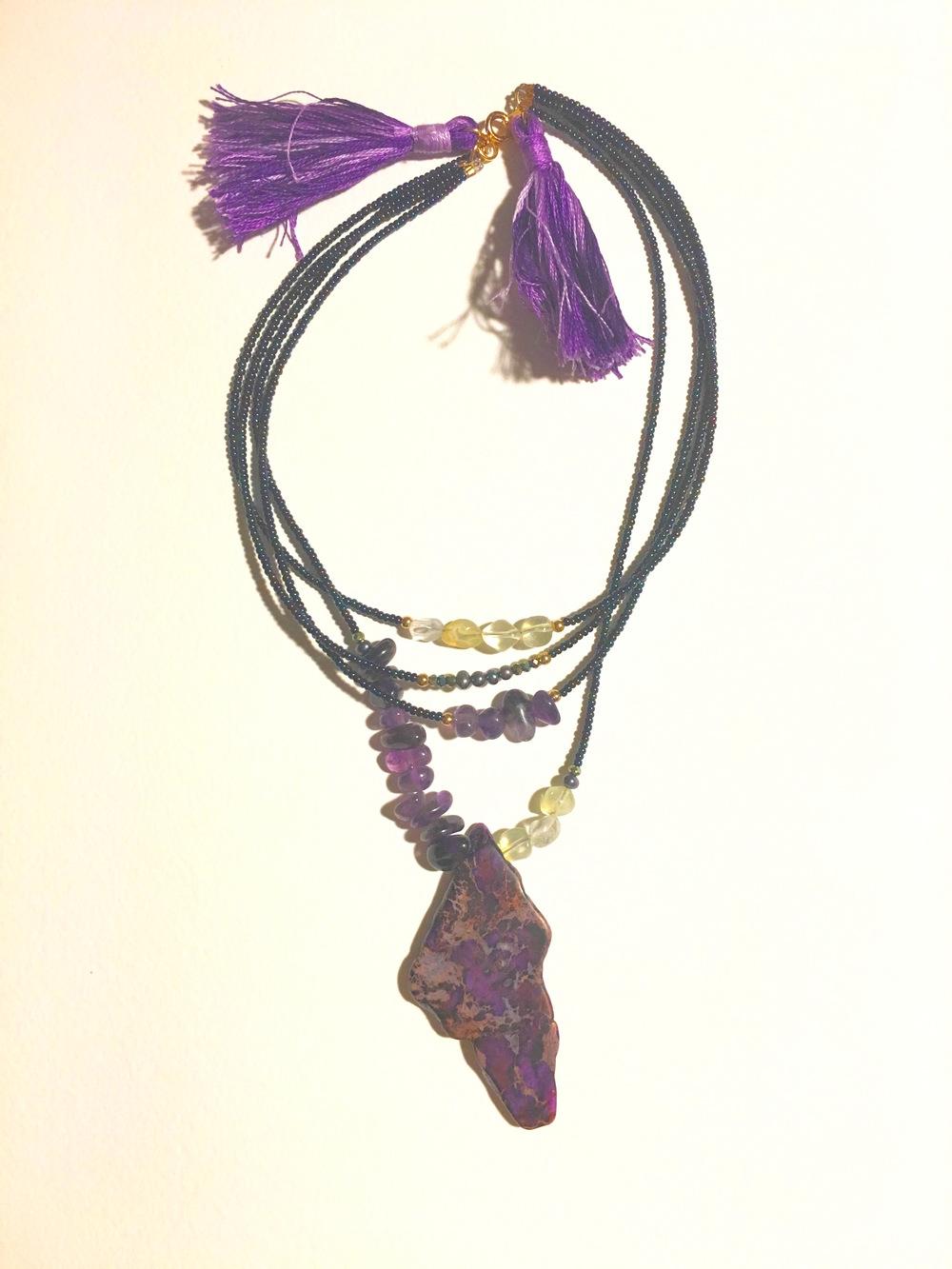 "Spirit of New Orleans  14"" Collar Necklace  Amethyst, Pineapple Quartz, Feldspar, Black Pearls, Gold, Crystal  $275"