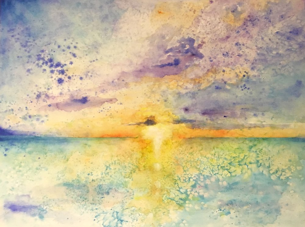 Belizean Sunset - a salt-scrubbed watercolor