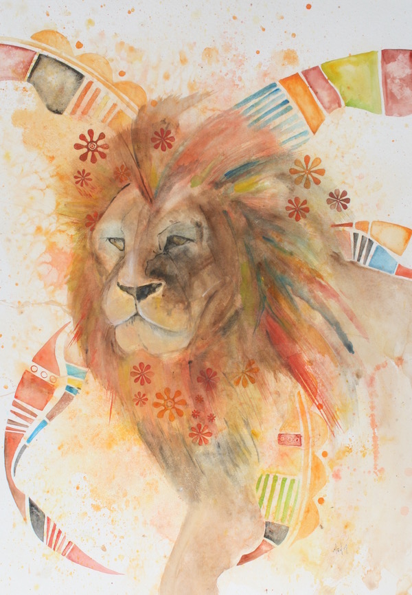 Iron like a Lion - salt-scrubbed watercolor on paper   Giclee Prints  and  Original Art  available
