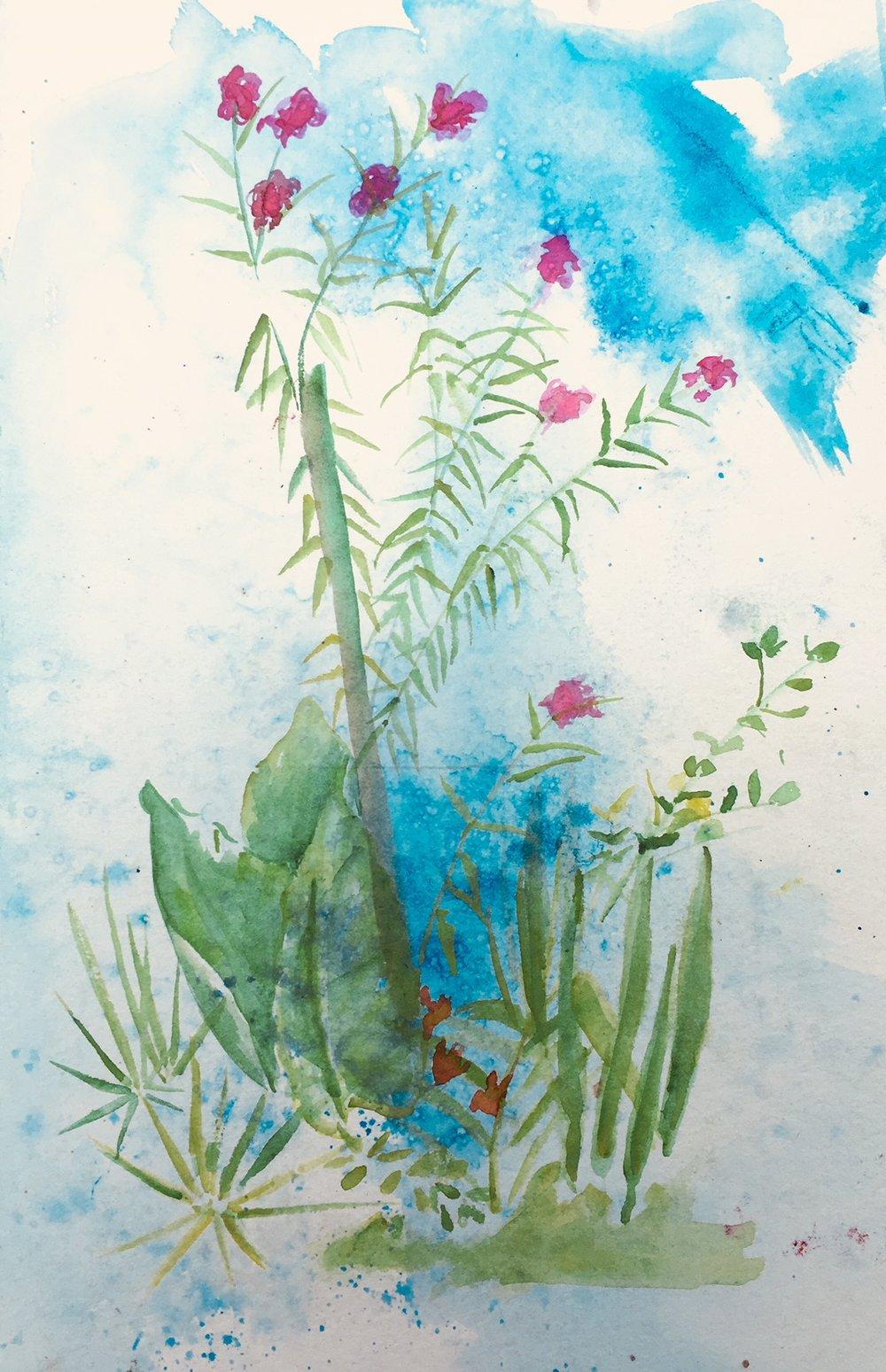 Miss Buela's Garden - salt-scrubbed watercolor