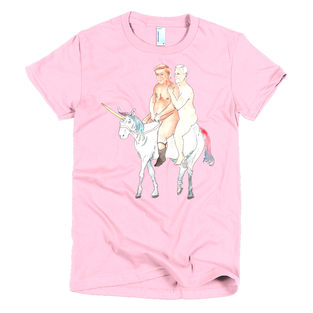 naked trump and pence on a unicorn