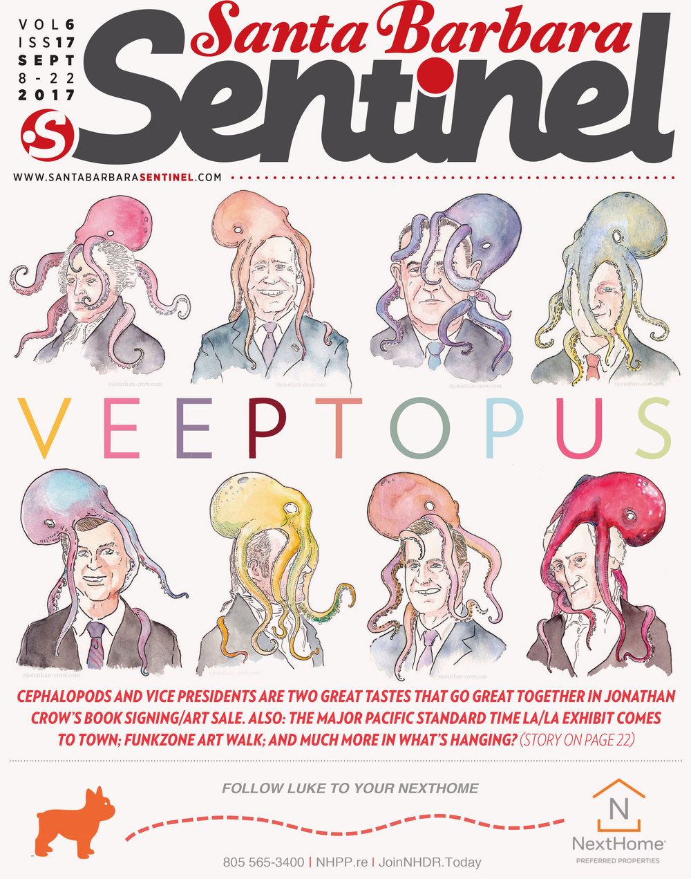 Veeptopus on the cover of the Santa Barbara Sentinel, September 2017