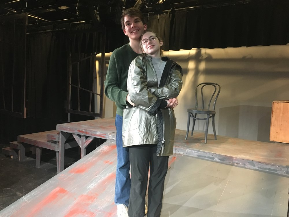 "Rachel Christopherson (Johanna) and Kyle Bowers (Anthony Hope) embrace after they perform their love song ""Kiss Me""."