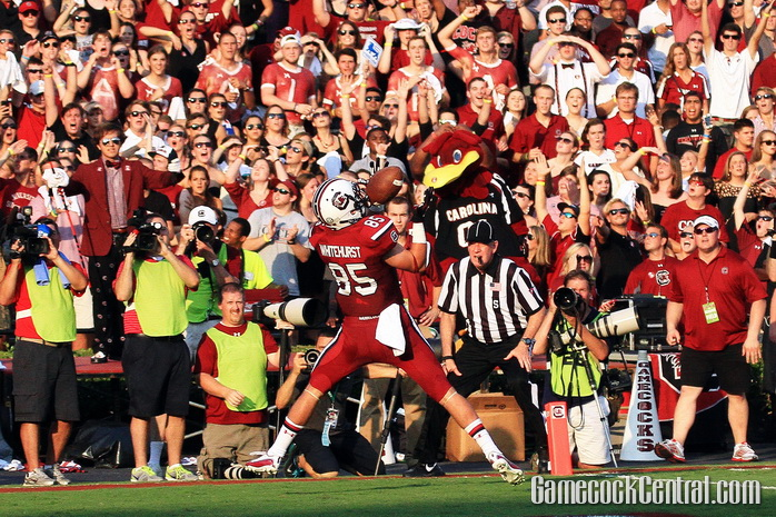 Wideout Kane Whitehurst caught his first career touchdown at South Carolina, a 29-yarder from Dylan Thompson that put the Gamecocks ahead 17-0 in the first quarter.