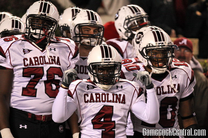 STAFF PHOTO BY C.J. DRIGGERS: At Alabama, South Carolina lost its second game of the year in the white/black look.